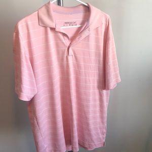 Men's Nike pink/white striped dri-fit golf polo